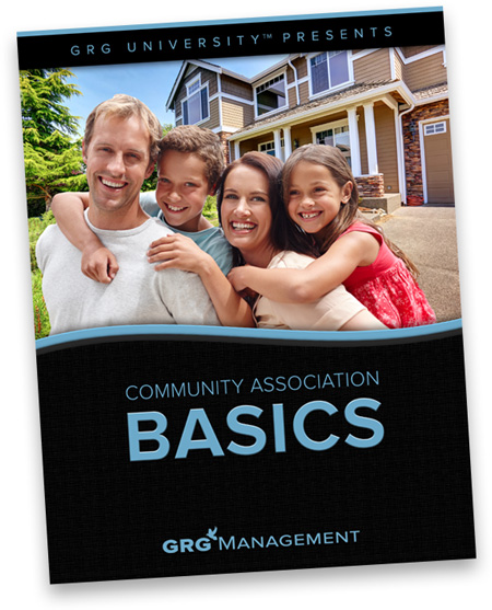 Cover of white paper titled Board Member Basics showing a happy family of four in front of a beautiful home