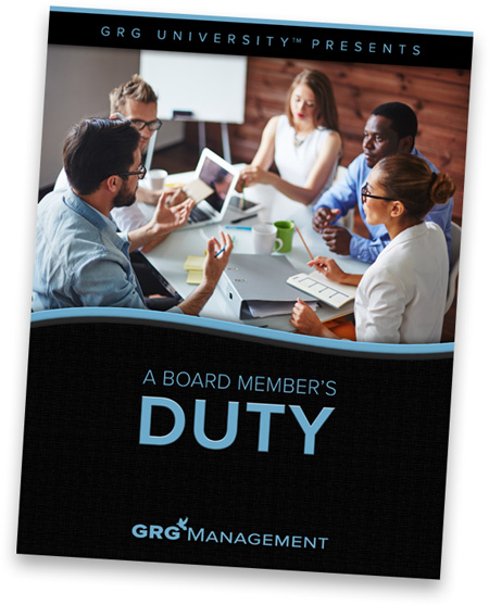 Cover of white paper titled A Board Member's Duty showing a bunch of board members seated at a table discussing an issue