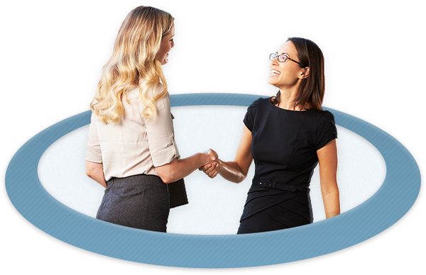 Tall blonde woman community association manager shaking hands with shorter brunette woman who is a new client