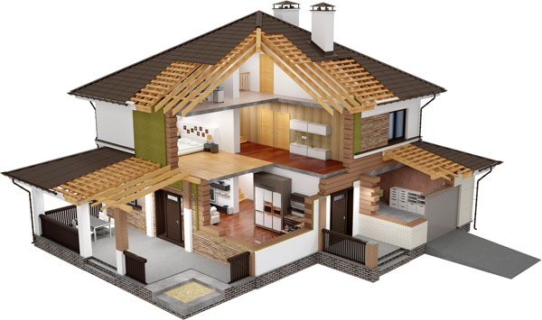 Cutaway illustration of a single-family home