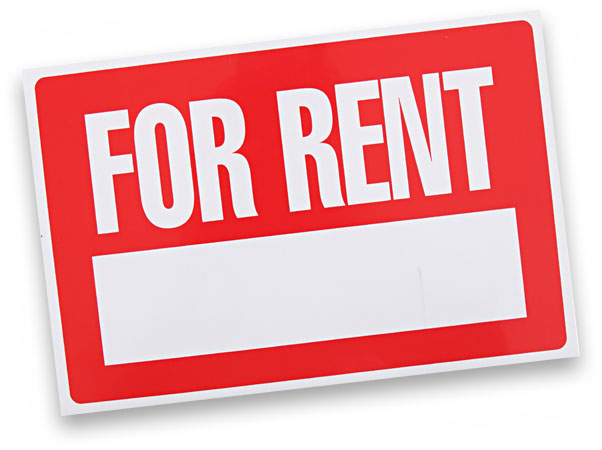 Red and white 'For Rent' sign