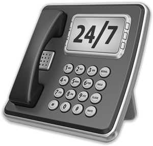 Upright office phone with 24x7 showing on viewscreen