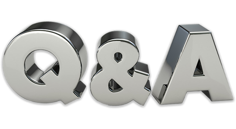 Q ampersand A in big, thick shiny 3D chrome letters