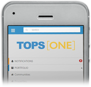 Cellphone with TOPS ONE login page open