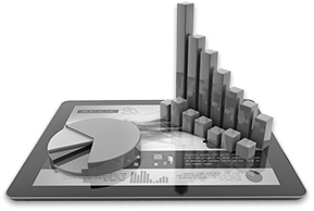 Illustration of tablet computer with 3D pie and bar charts sitting on top of it