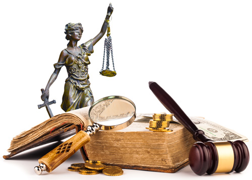 Statue of Justice blindfolded, plus law books and a magnifying glass, symbolizing community governance