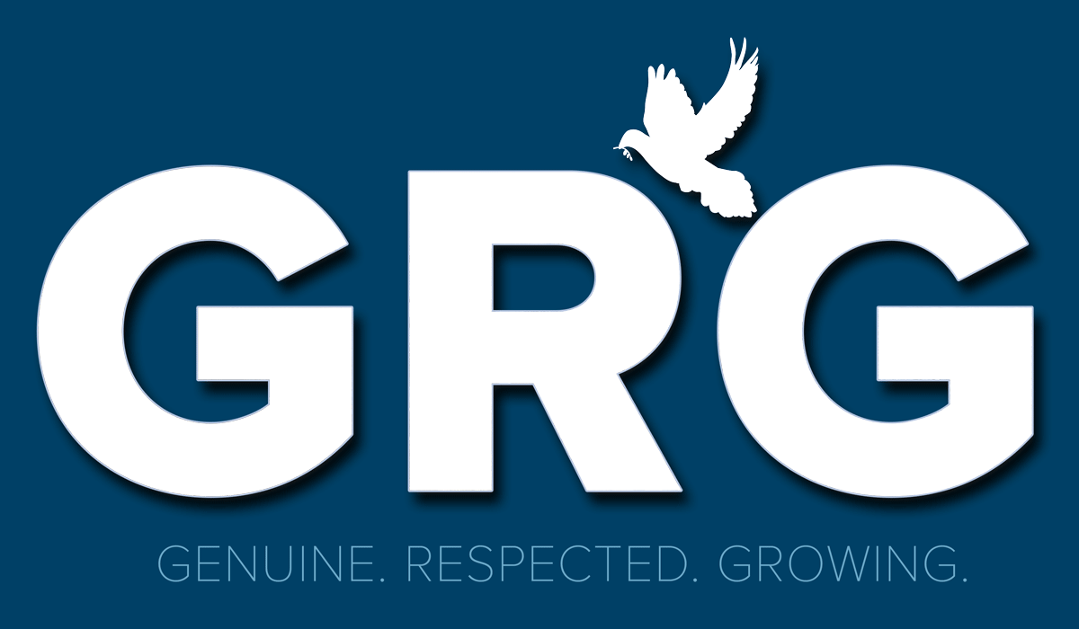 The GRG HOA Management logo as a mask over an ocean scene